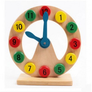 Wooden 3D Shape & Number Sorting Model Clock Puzzle (3 Years+)  Learn Shapes & Time Telling